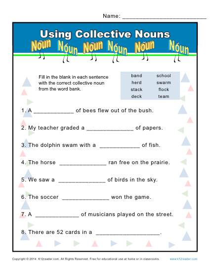 Collective Noun Worksheets : Using Nouns