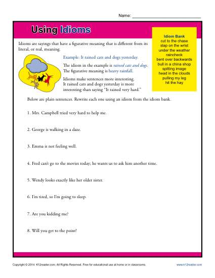 Figurative Language Worksheets | Idiom Worksheets