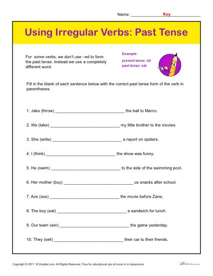 Using Irregular Verbs: Past Tense Printable Classroom Activity