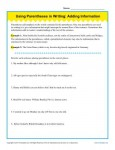 Writing Practice Worksheet - Using Parentheses When Adding Information