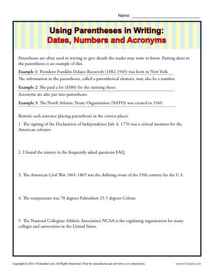 Writing Practice Worksheet - Using Parentheses in Writing Dates, Numbers and Acronymns
