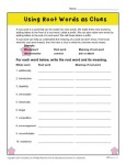 Using Root Words as Clues - Printable Word Meaning Worksheet