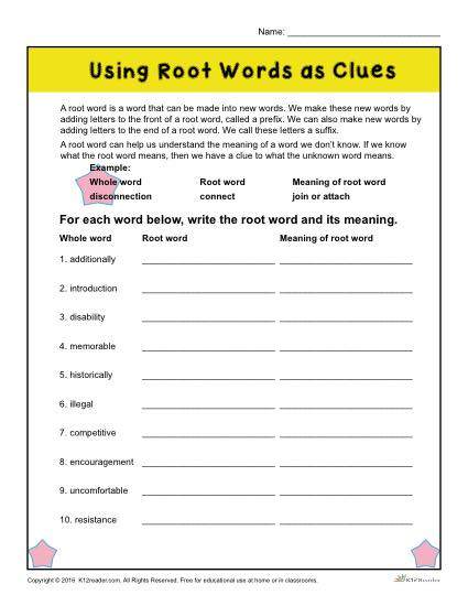 root words worksheet year 3 kidz activities. Black Bedroom Furniture Sets. Home Design Ideas