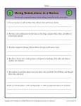 Punctuation Worksheet - Practice Using Semicolons in a Series