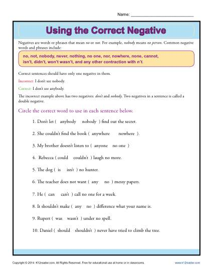 Negatives Worksheet