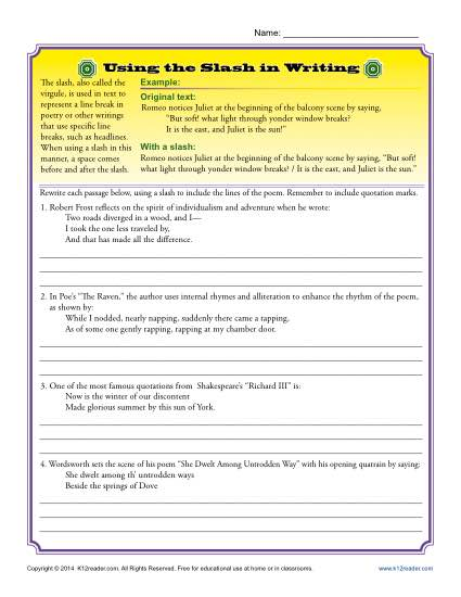 Writing Practice Worksheet - Using the slash