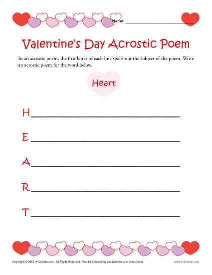 image relating to Free Printable Valentine Worksheets known as Absolutely free, Printable Valentine Acrostic Poem Worksheet