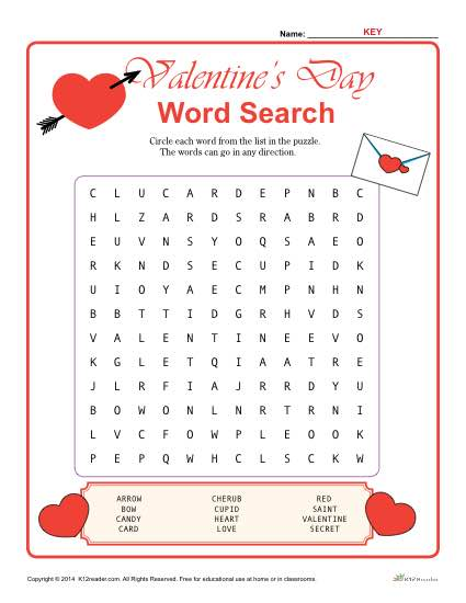 valentine 39 s day word search activity. Black Bedroom Furniture Sets. Home Design Ideas