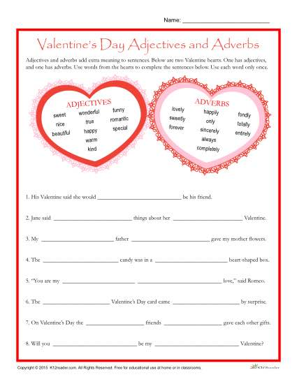 Valentine's Day Worksheet | Adjectives and Adverbs