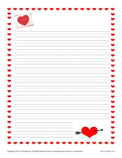 Valentineu0027s Day Writing Paper For Kids  Lined Stationary Template