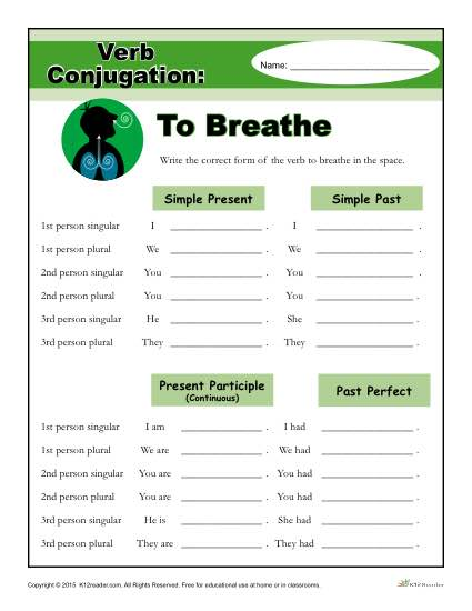 Verb Conjugation Worksheet - To Breathe