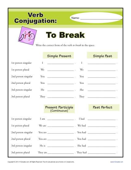 Verb Conjugation Worksheet - To Break