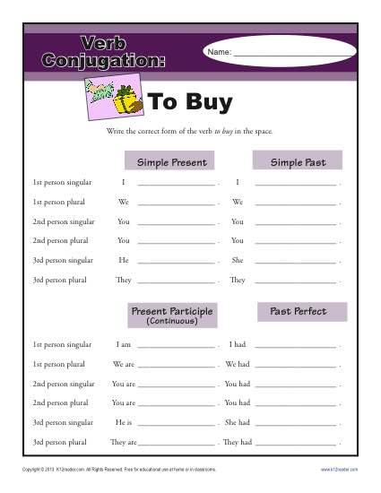 Verb Conjugation Worksheet - To Buy