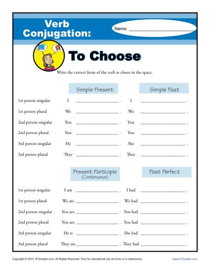 Verb Conjugation Worksheet - To Choose