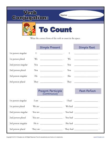 Verb Conjugation Worksheet - To Count