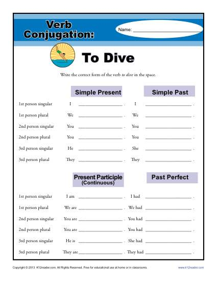 Verb Conjugation Worksheets - To Dive