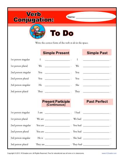 To Do Verb Conjugation Worksheets - 2nd, 3rd, 4th, 5th Grade