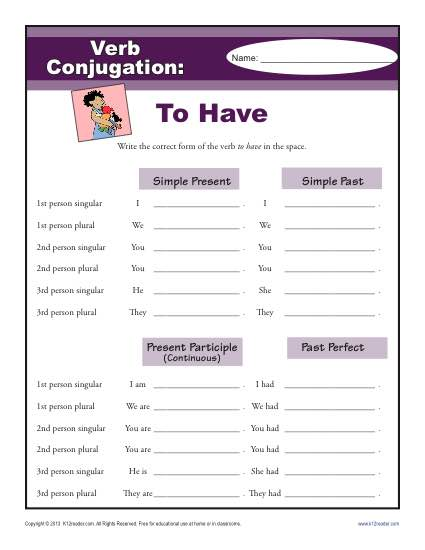 To Have : Verb Conjugation Worksheets