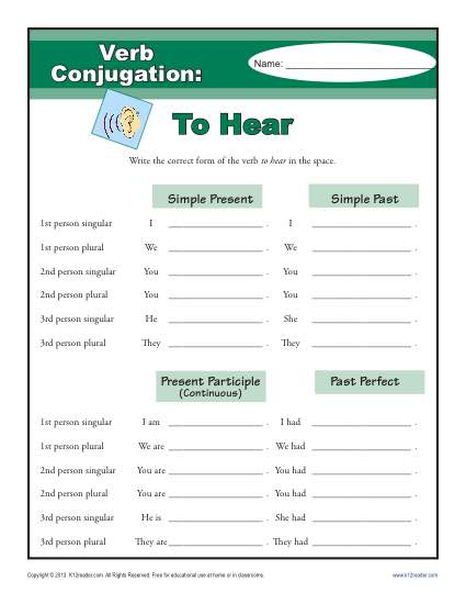 Verb Conjugation Worksheet - To Hear