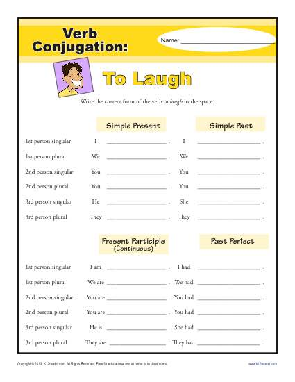 Verb Conjugation Worksheet - To Laugh