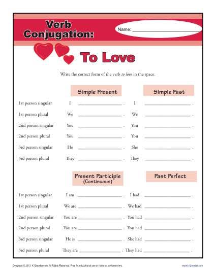 Verb Conjugation Worksheet - To Love