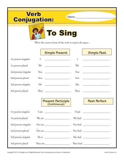 Verb Conjugation Worksheet - To Sing