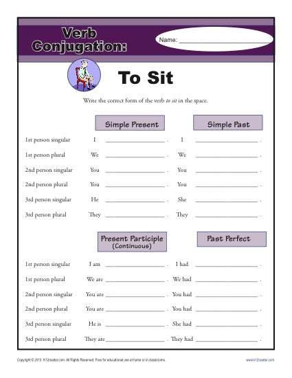 Verb Conjugation Worksheet - To Sit
