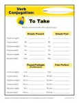 Verb Conjugation Worksheets - To Take