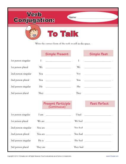 Verb Conjugation Worksheet - To Talk