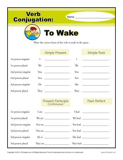 Verb Conjugation Worksheets - To Wake