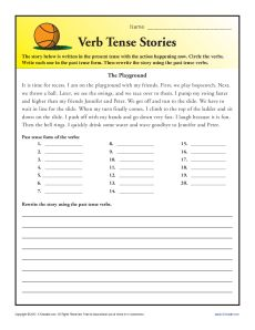 Verb Tense Worksheet Activity - Stories