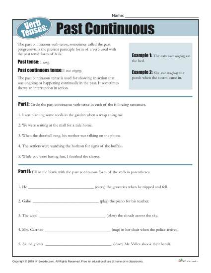 Verb Tense Worksheets Past Continuous