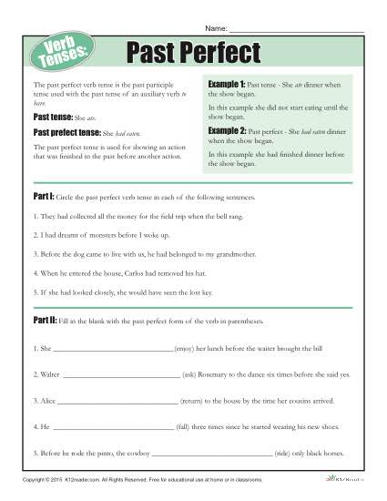 Verb Tenses Worksheet - Past Perfect