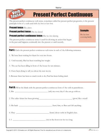 Verb Tenses Worksheet - Present Perfect Continuous