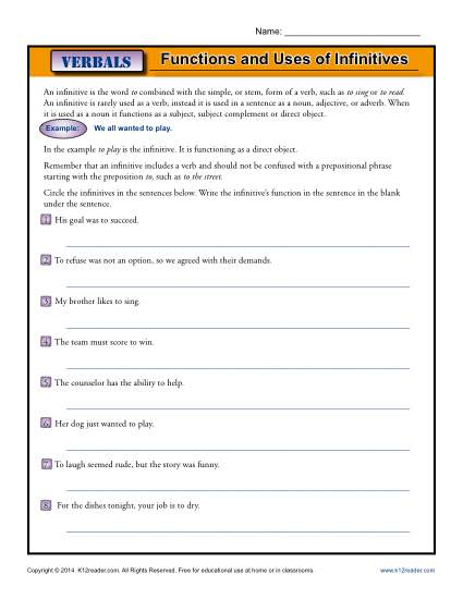 Functions and Uses of Infinitives | Verbals Worksheets