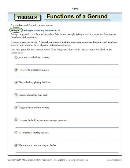 Gerund worksheet