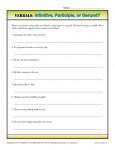 Verbals Worksheet Activity - Infinitive, Participle or Gerund?