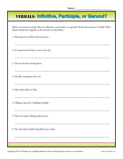 Verbals Worksheet Activity - Infinitive, Participle or Gerund?