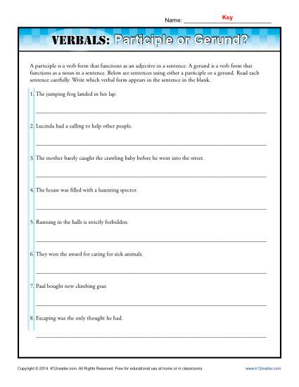 Verbals Worksheet Activity - Participle or Gerund?