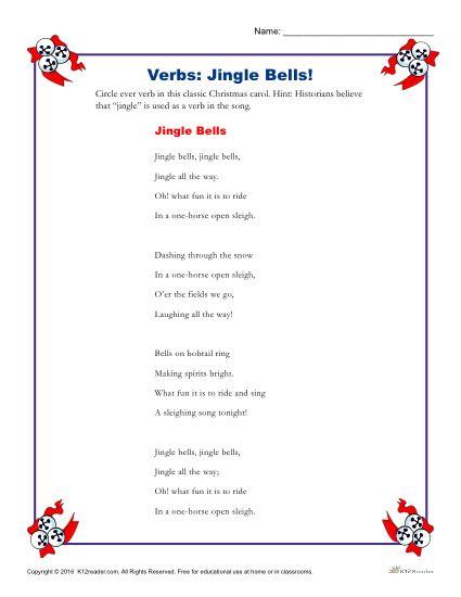 Jingle Bells Christmas Verbs Worksheet