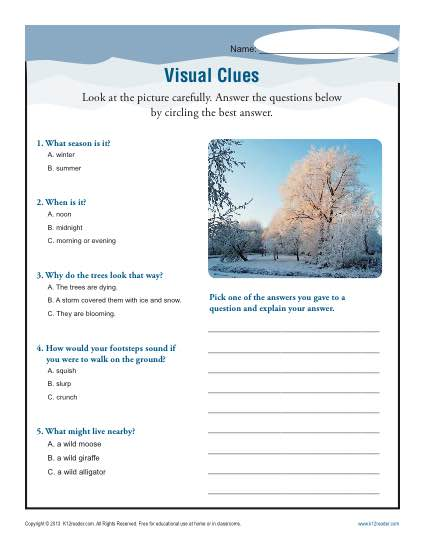 Visual Clues | Inference Worksheets: 4th, 5th, Middle School
