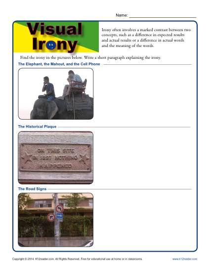 Visual Irony Worksheet Activity