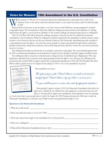 19th Amendment Reading Worksheet - Votes for Women