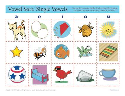 Sort the Single Vowel - Printable Worksheet Practice Activity