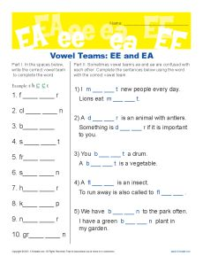 Vowel Teams ee and ea - Free, Printable Worksheet Lesson Activity