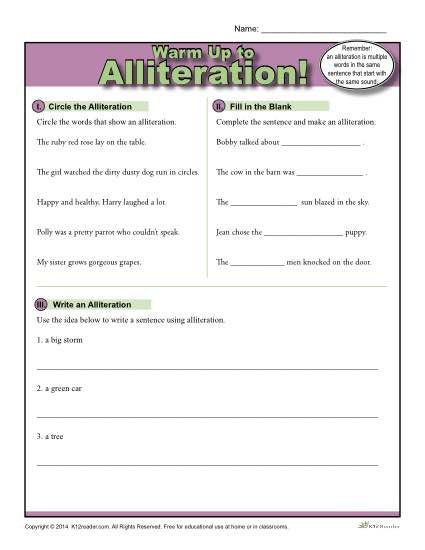 Alliteration warm up activity figurative language worksheets for Alliteration poem template