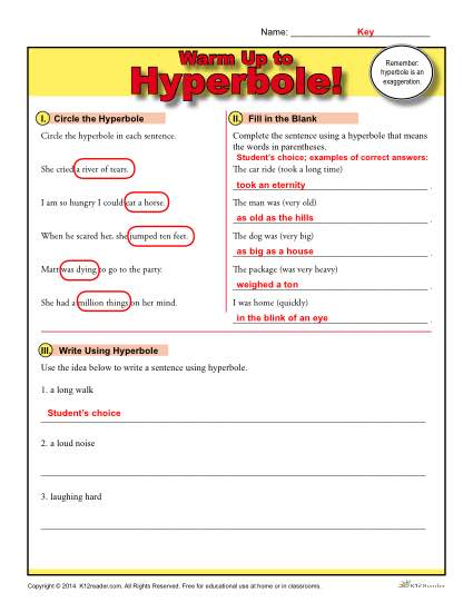 Hyperbole Warm Up Activity Figurative Language Worksheets