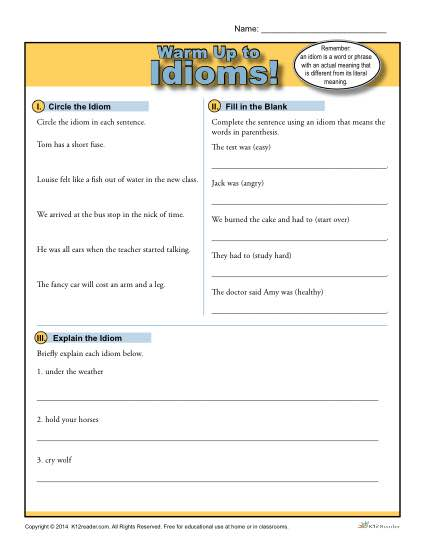 Printable Idioms Warm Up Activity for Class or Home