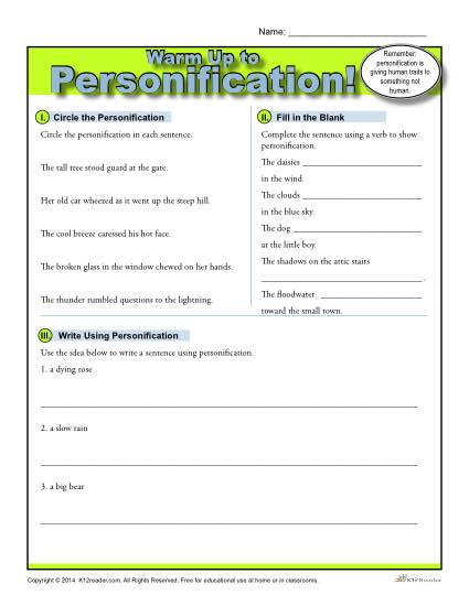 Printable Personification Warm Up Activity for Class or Home