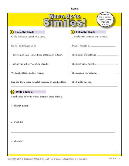 Simile Warm Up Activity